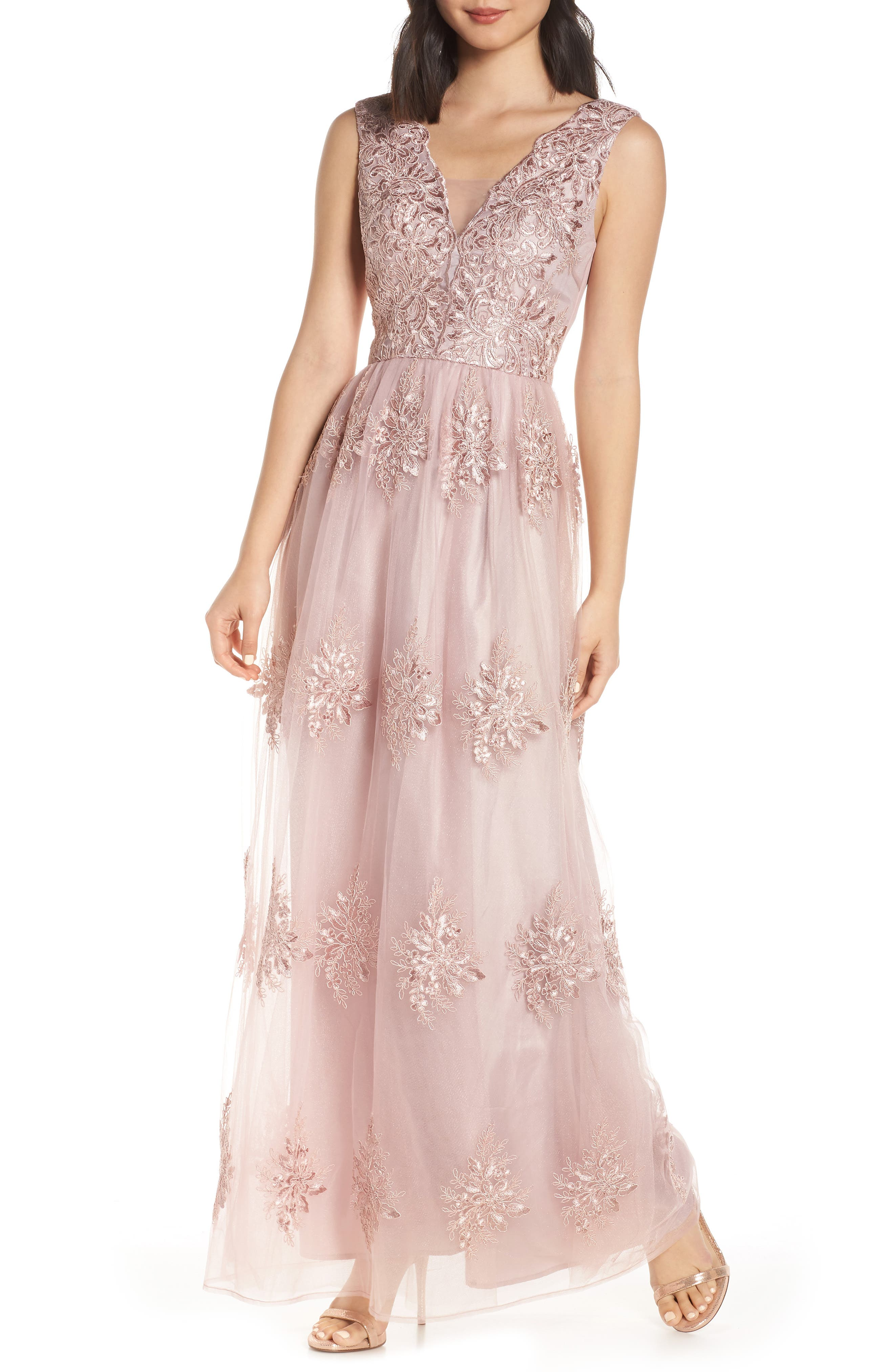 Chi Chi London Aubree Embroidered Evening Dress, Pink