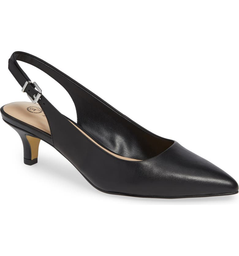 BELLA VITA Scarlette Slingback Pump, Main, color, BLACK LEATHER