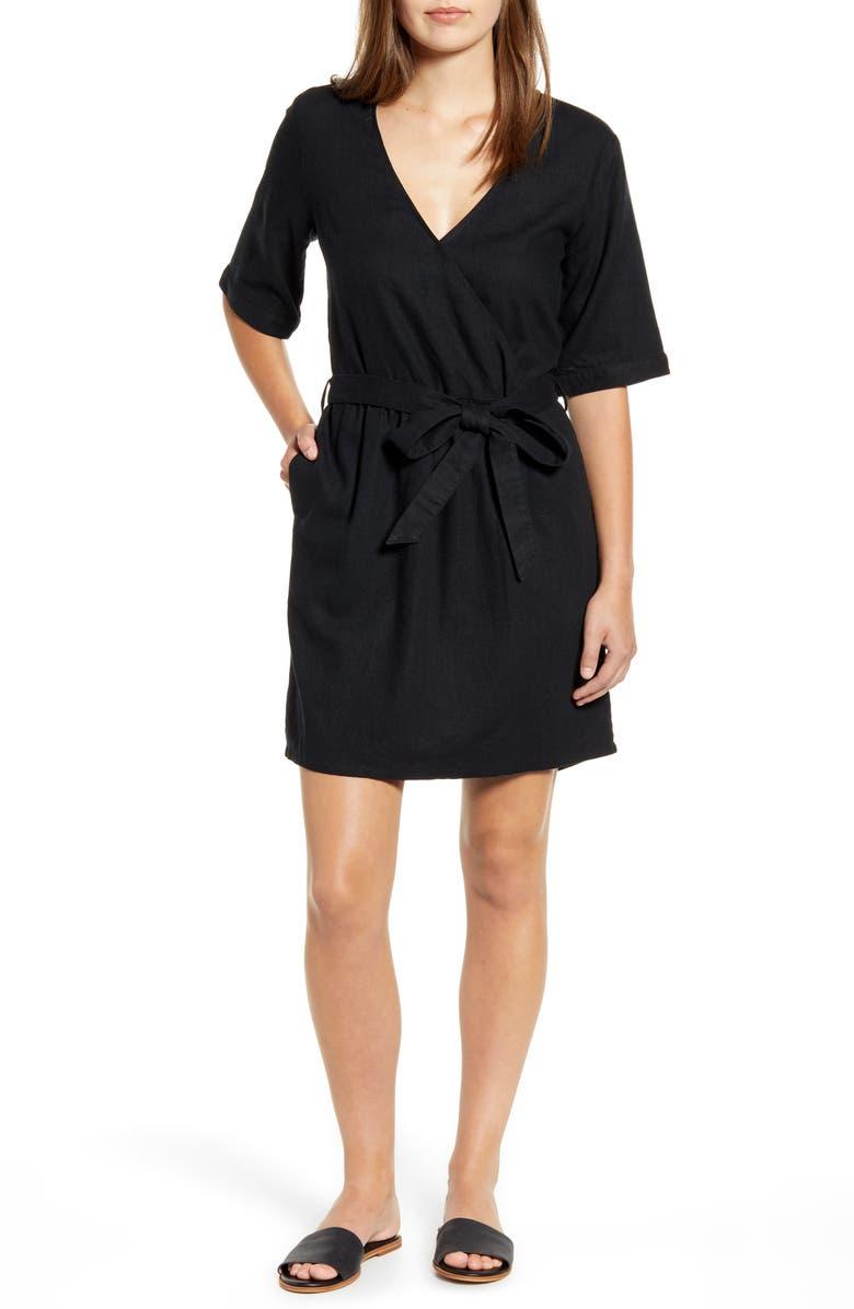 CASLON<SUP>®</SUP> Linen Blend Faux Wrap Dress, Main, color, 001