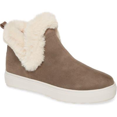 Jslides Priya High Top Sneaker With Faux Fur Lining, Brown