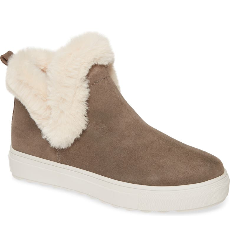 JSLIDES Priya High Top Sneaker with Faux Fur Lining, Main, color, TAUPE SUEDE