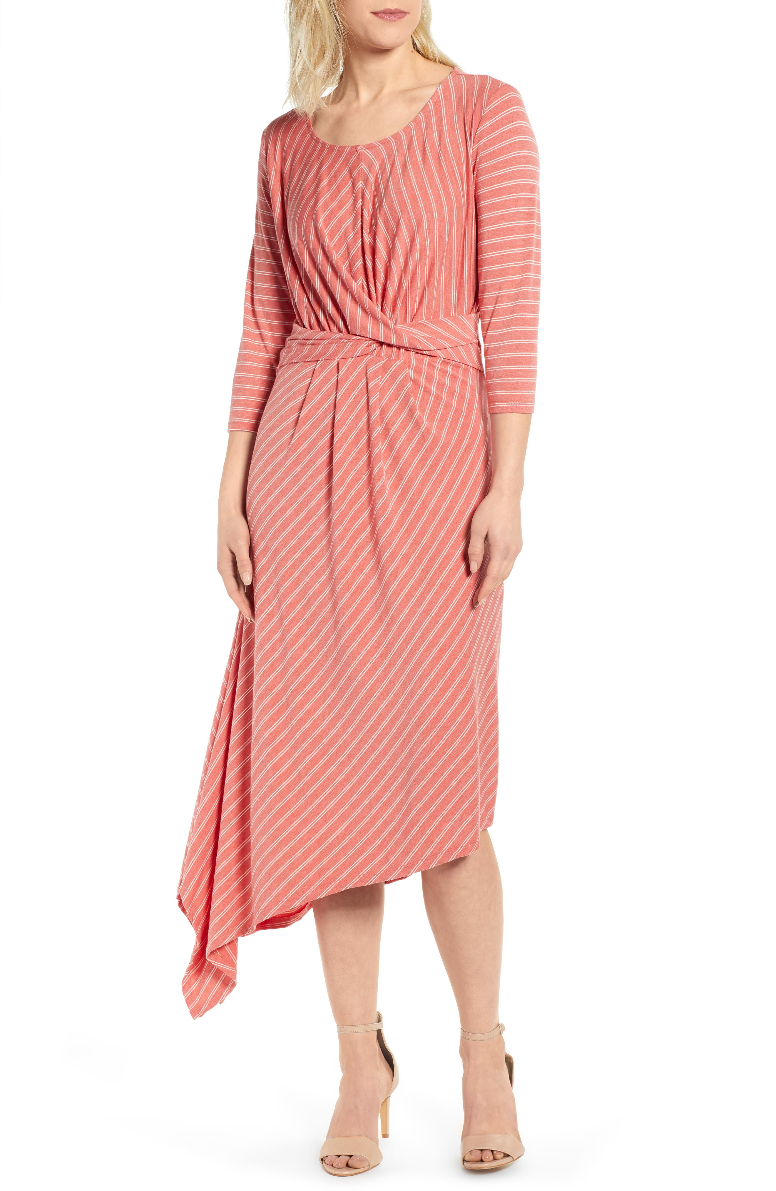 Bobeau Clara Twist Front Asymmetrical Dress, Orange