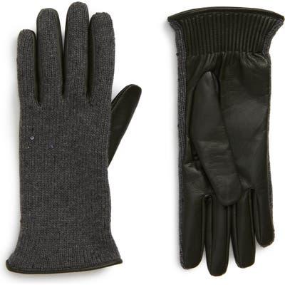 Brunello Cucinelli Cashmere, Silk & Leather Gloves, Grey