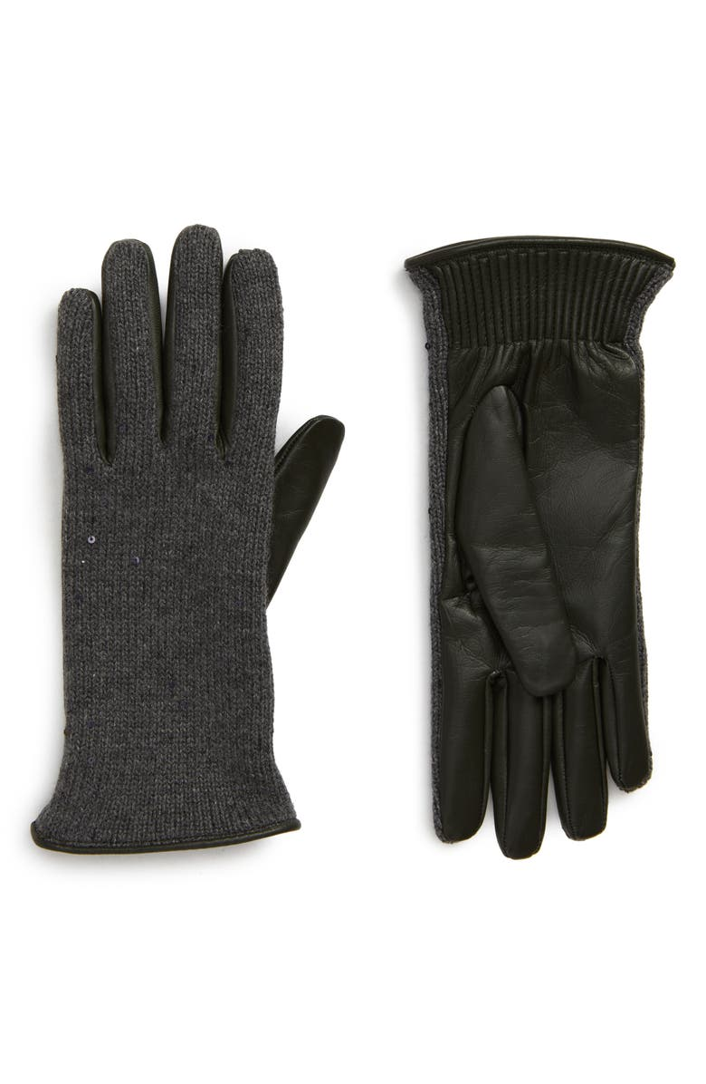 BRUNELLO CUCINELLI Cashmere, Silk & Leather Gloves, Main, color, 020