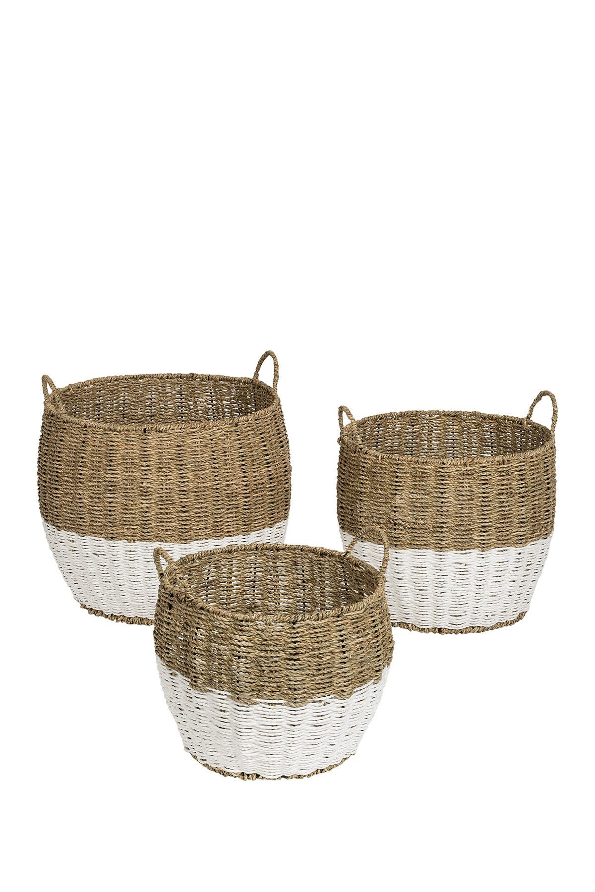 Image of Honey-Can-Do Natural/White Round Seagrass Baskets - Set of 3