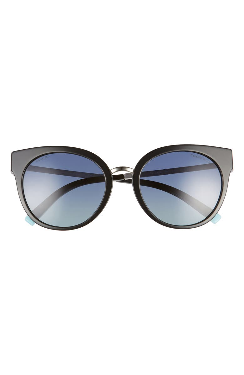 TIFFANY & CO. 54mm Polarized Butterfly Sunglasses, Main, color, BLACK/ AZURE GRAD