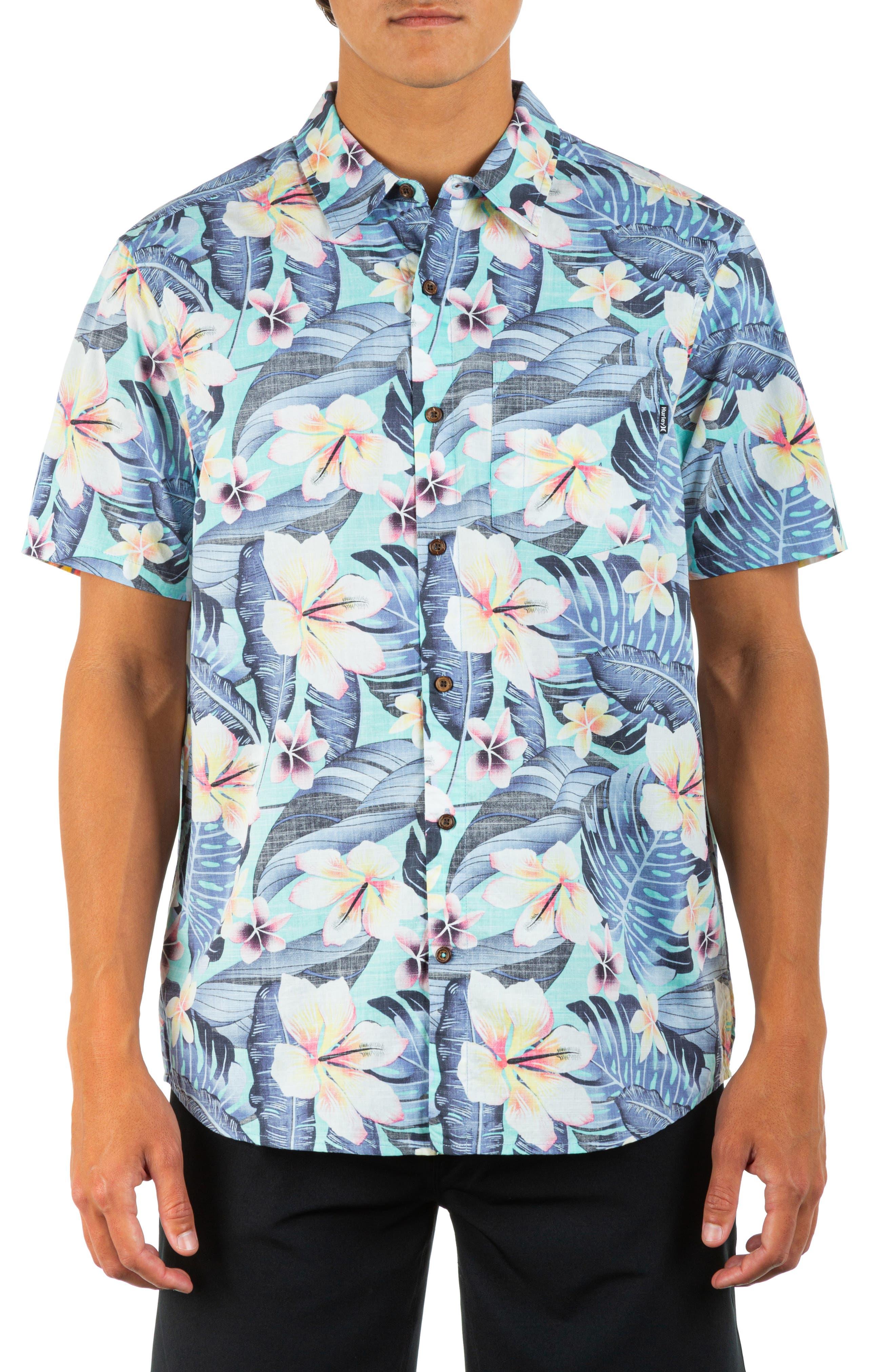 Cabana Floral Short Sleeve Button-Up Organic Cotton Shirt