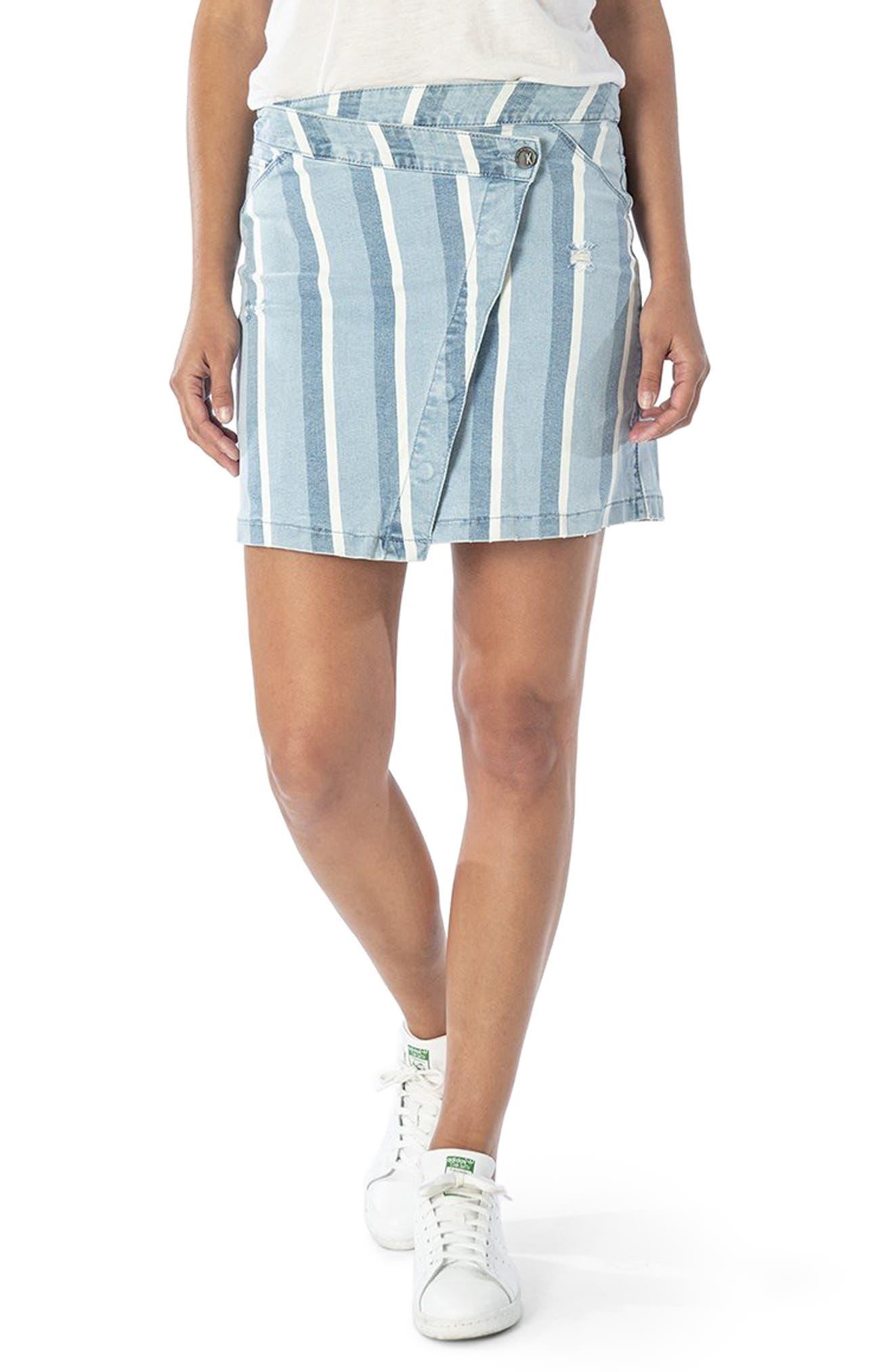 Connie Asymmetrical Stripe Denim Miniskirt