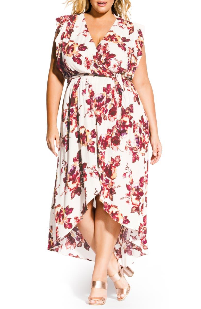 CITY CHIC Monet Ecru Faux Wrap Maxi Dress, Main, color, MONET ROSE