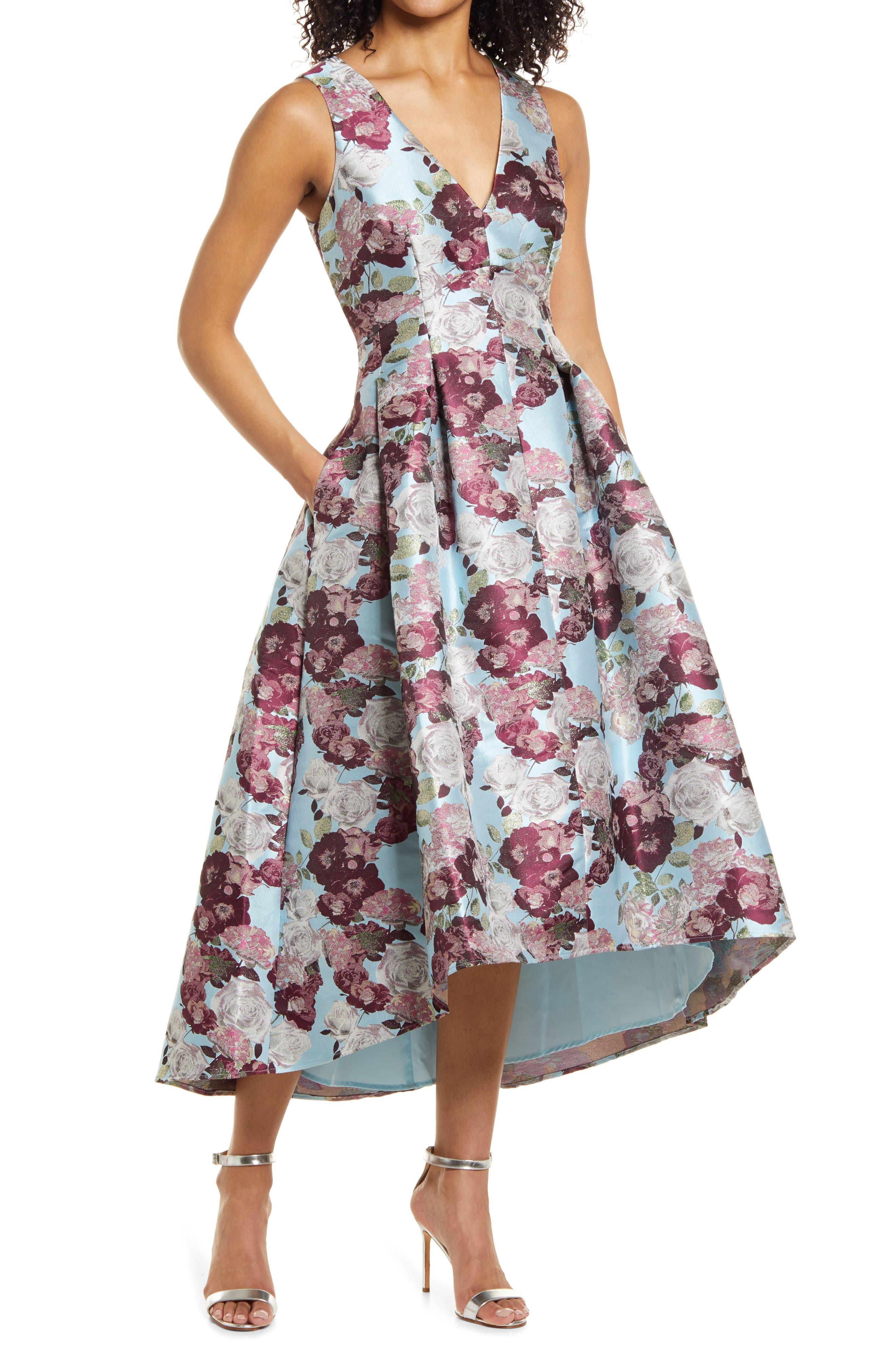 Metallic Floral Jacquard Cocktail Dress
