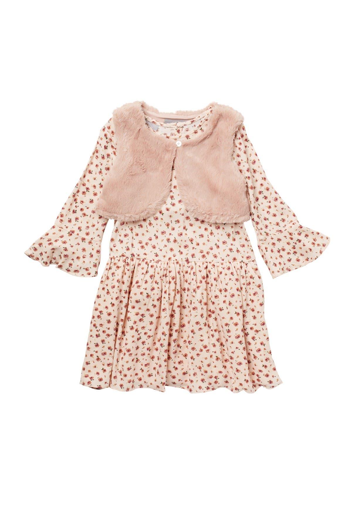 Image of Pastourelle by Pippa and Julie Floral Print Dress & Faux Fur Vest Set