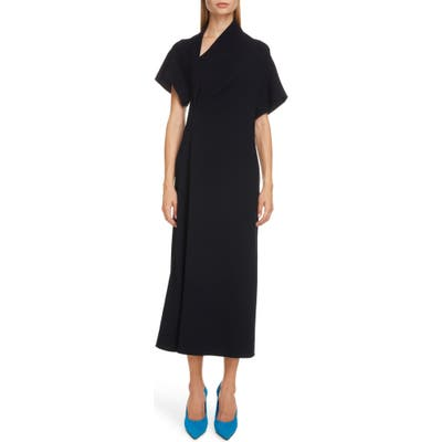Victoria Beckham Asymmetrical Neck Midi Dress, US / 8 UK - Blue