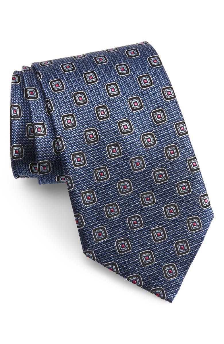 NORDSTROM MEN'S SHOP Medallion Silk X-Long Tie, Main, color, NAVY