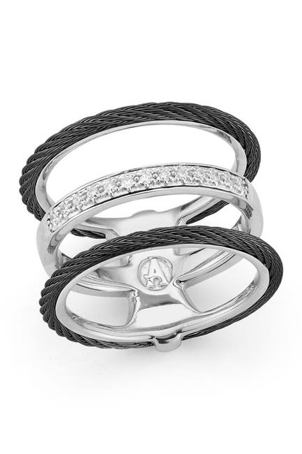 Image of ALOR 18K Gold & Stainless Steel Diamond Ring - 0.11 ctw