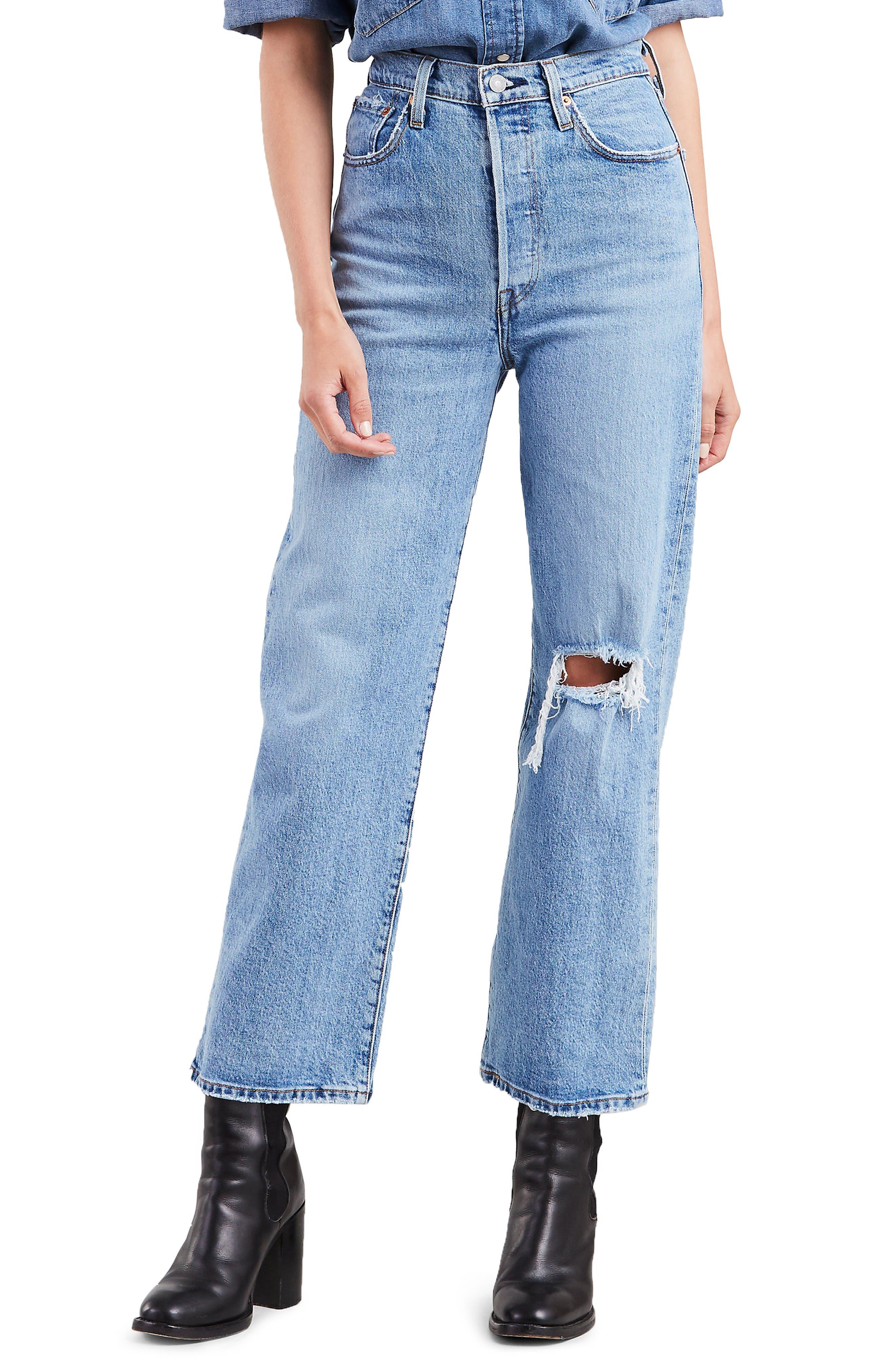 Ribcage High Waist Straight Leg Jeans, Main, color, 400