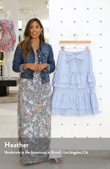 Stripe Stretch Cotton Tier Skirt, sales video thumbnail