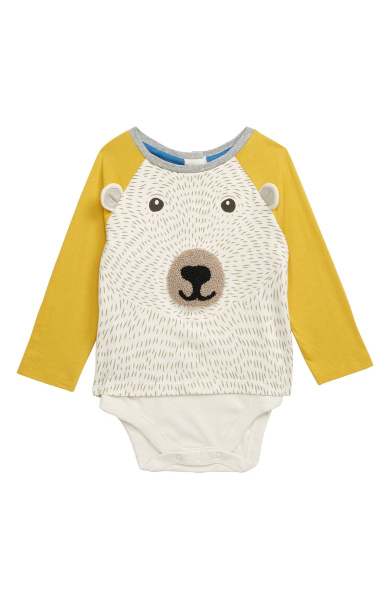 MINI BODEN Textured Bear Bodysuit, Main, color, 908