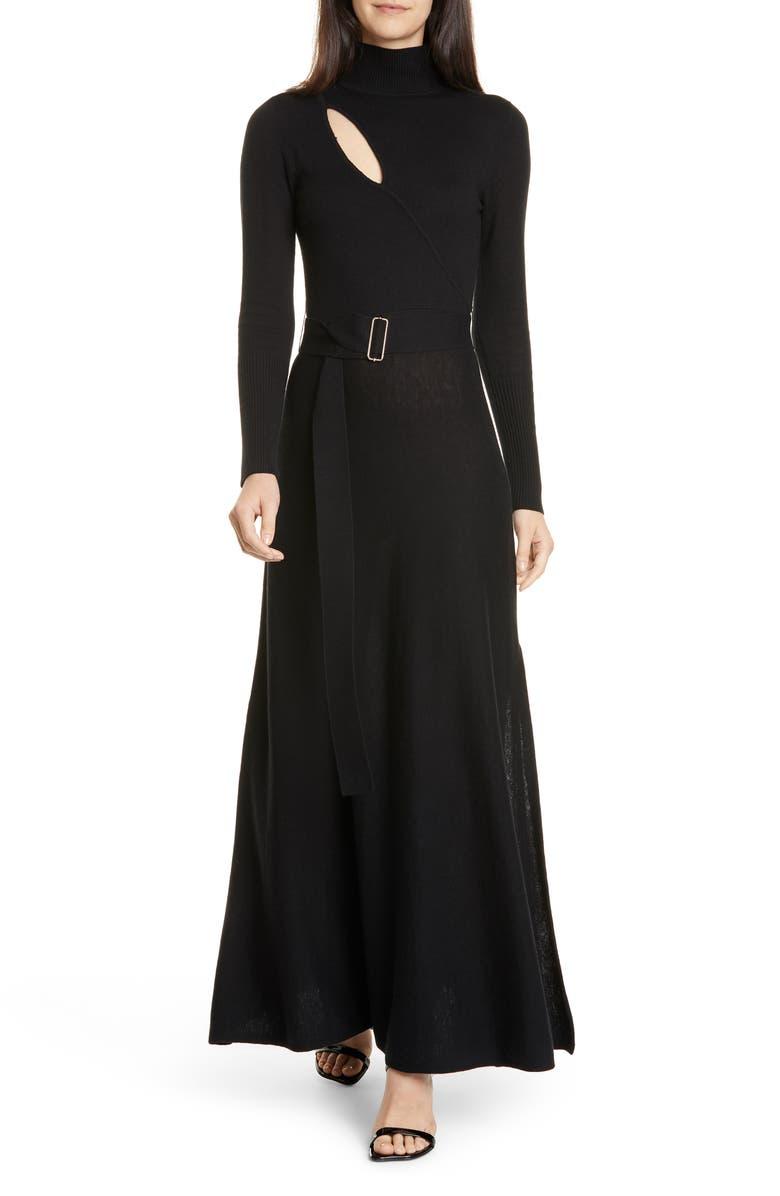 NICHOLAS Cutout Long Sleeve Belted Wool & Cotton Dress, Main, color, BLACK