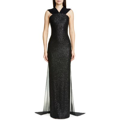 St. John Collection Statement Sequin Knit Evening Gown, Black