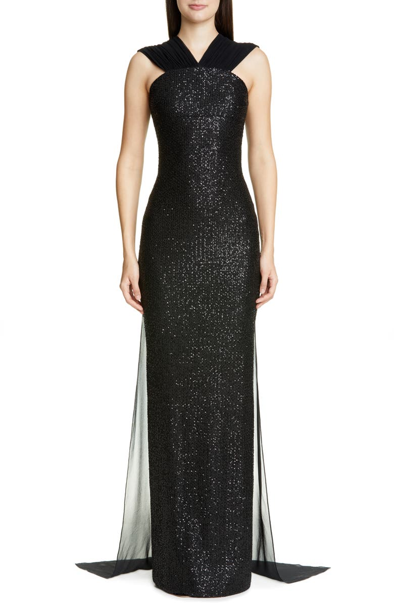 ST. JOHN COLLECTION Statement Sequin Knit Evening Gown, Main, color, CAVIAR