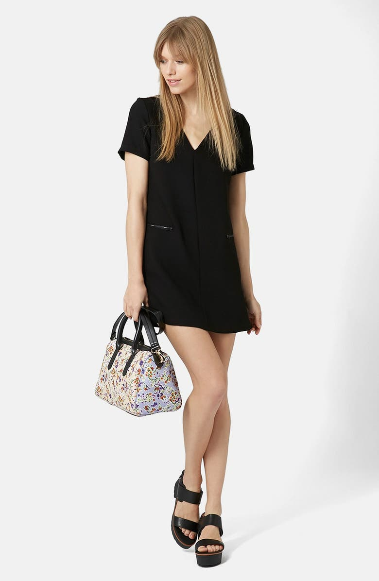 TOPSHOP Zip Crepe Shift Dress, Main, color, 001