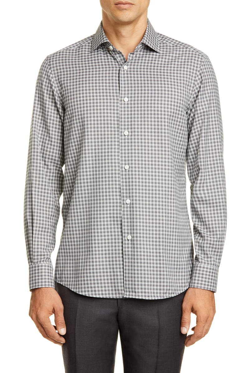 ERMENEGILDO ZEGNA Classic Fit Check Button-Up Shirt, Main, color, DARK GREY