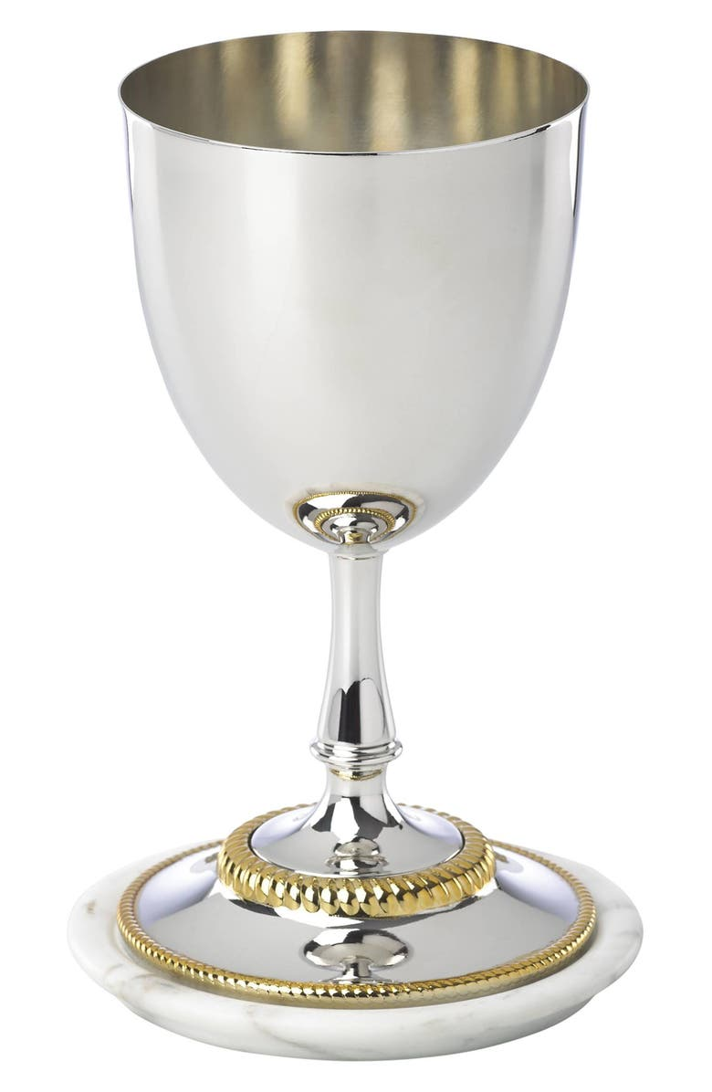 REED & BARTON Roseland Kiddush Cup with Marble Plate, Main, color, NICKEL/ GOLD