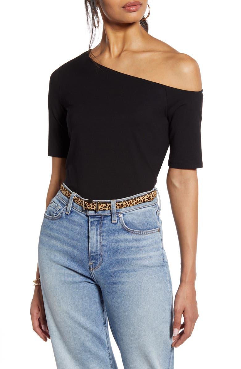 HALOGEN<SUP>®</SUP> One-Shoulder Knit Top, Main, color, BLACK