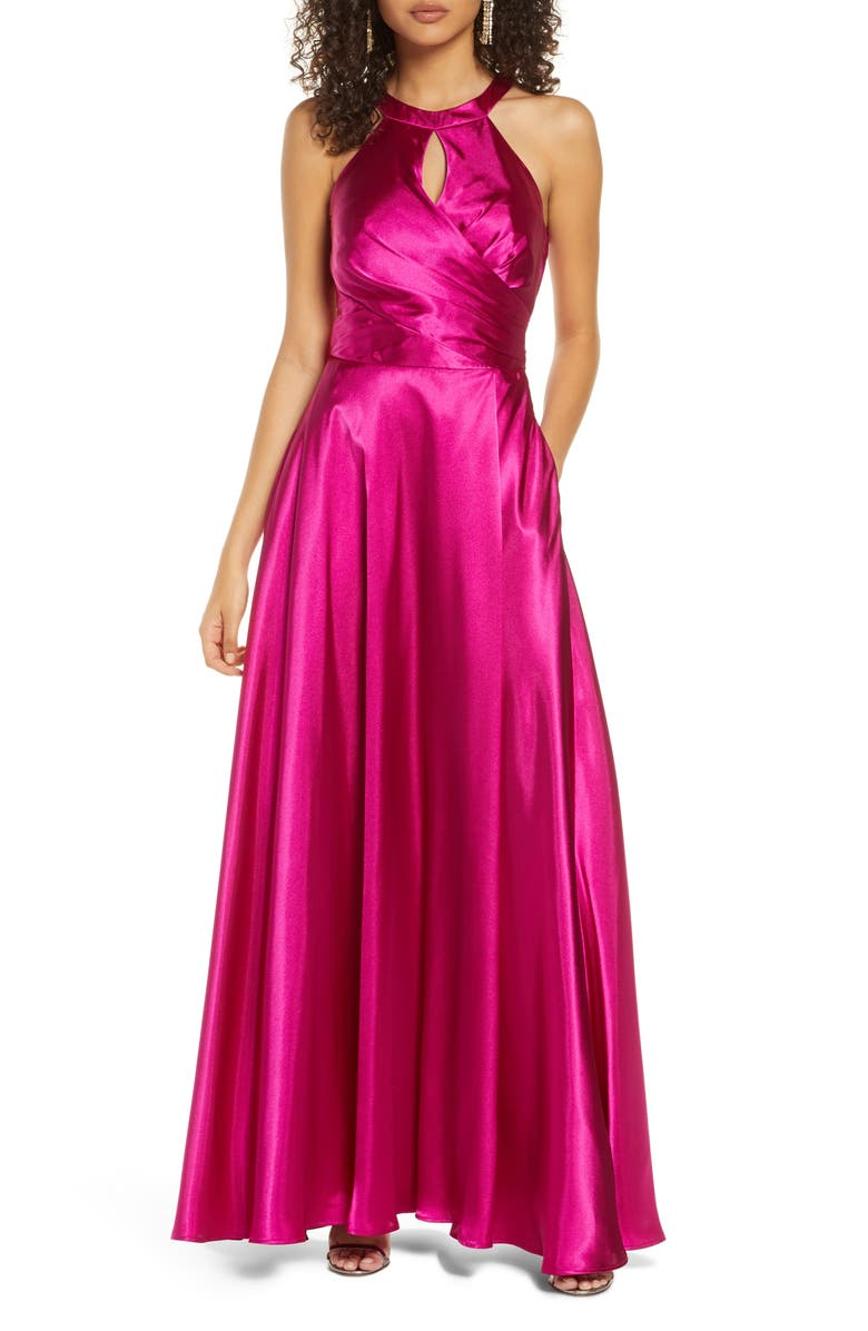 MORGAN & CO. Bow Back Charmeuse A-Line Gown, Main, color, CERISE