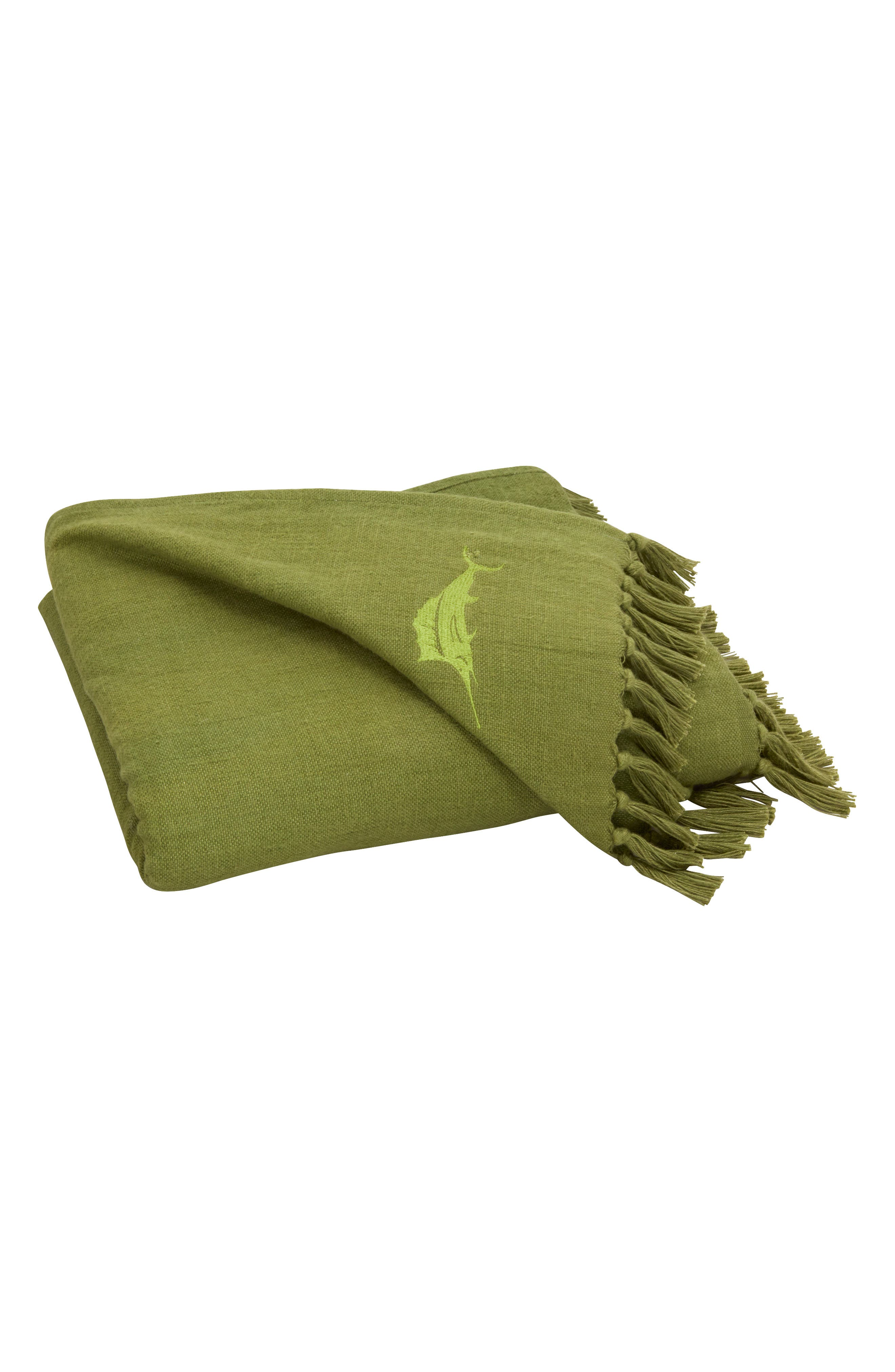 An embroidered sailfish gives iconic Tommy Bahama branding to this woven cotton-blend throw that\\\'s edged by tassels and brushed for a soft touch. Style Name: Tommy Bahama Canvas Fringe Throw Blanket. Style Number: 6084583. Available in stores.