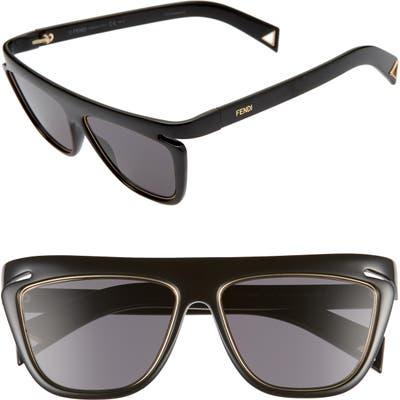 Fendi 55Mm Flat Top Sunglasses - Black/ Greyblue