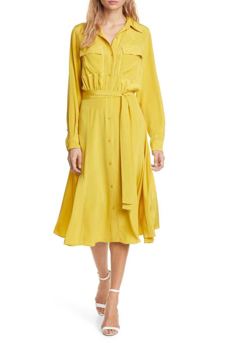 DVF Antoinette Long Sleeve Silk Shirtdress, Main, color, COUCH