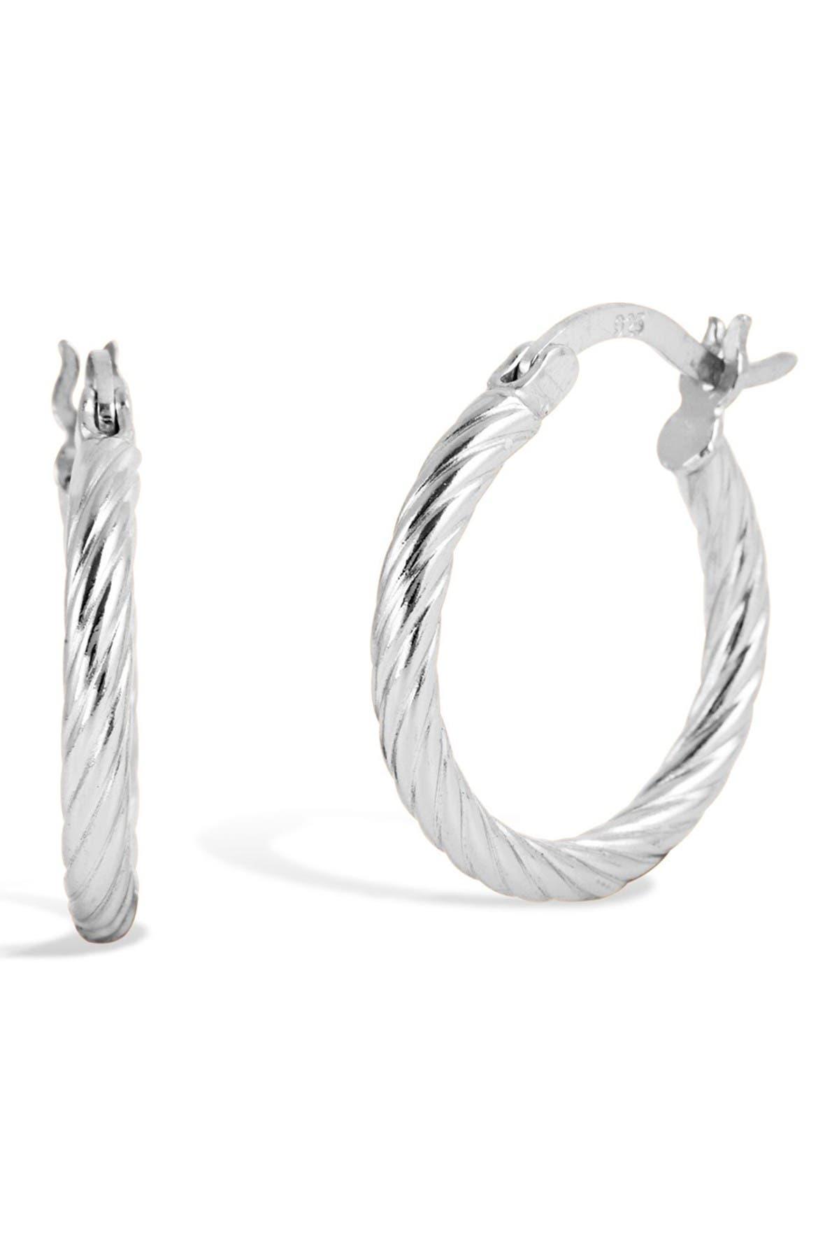 Image of Savvy Cie Sterling Silver Twist Tube Hoop Earrings