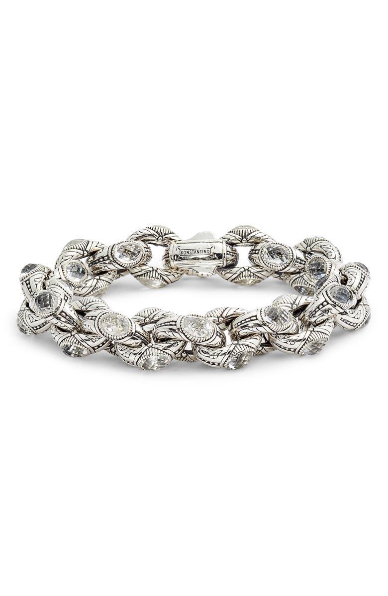 KONSTANTINO Pythia Crystal Large Chain Link Bracelet, Main, color, SILVER/ CRYSTAL