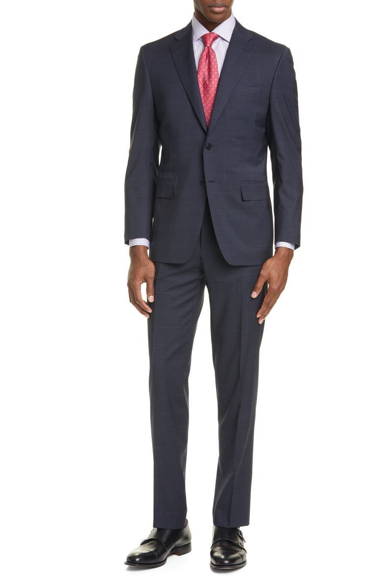 CANALI Siena Soft Classic Fit Windowpane Stretch Wool Suit, Main, color, CHARCOAL