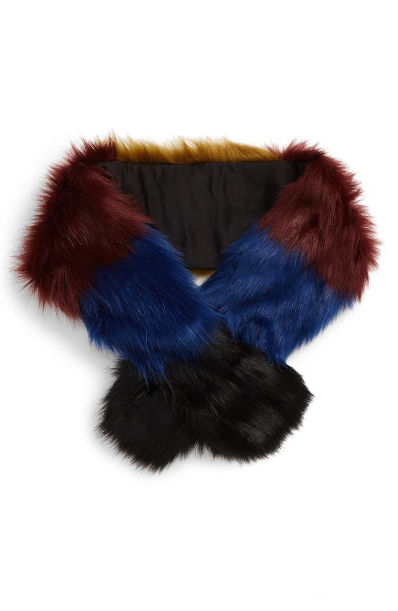 BP. Colorblock Faux Fur Pull Through Scarf, Main, color, MULTI COMBO