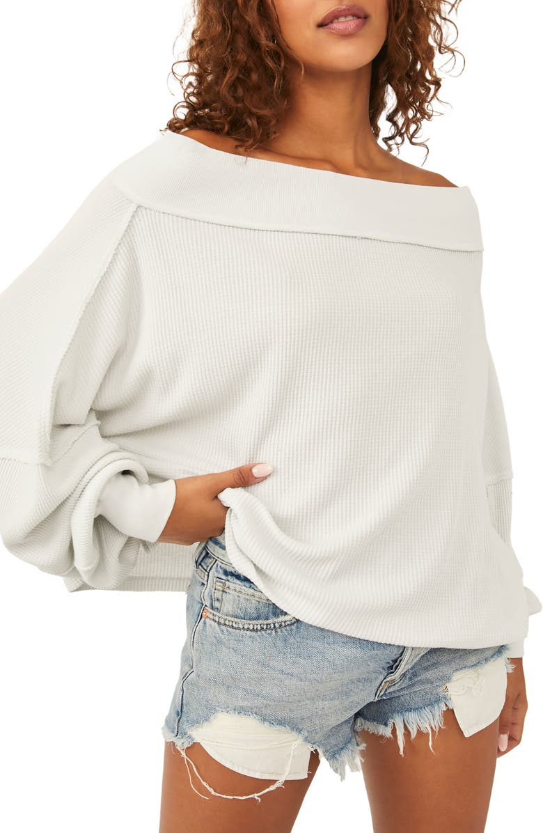 FREE PEOPLE Close To You Off the Shoulder Pullover, Main, color, HEATHER GREY
