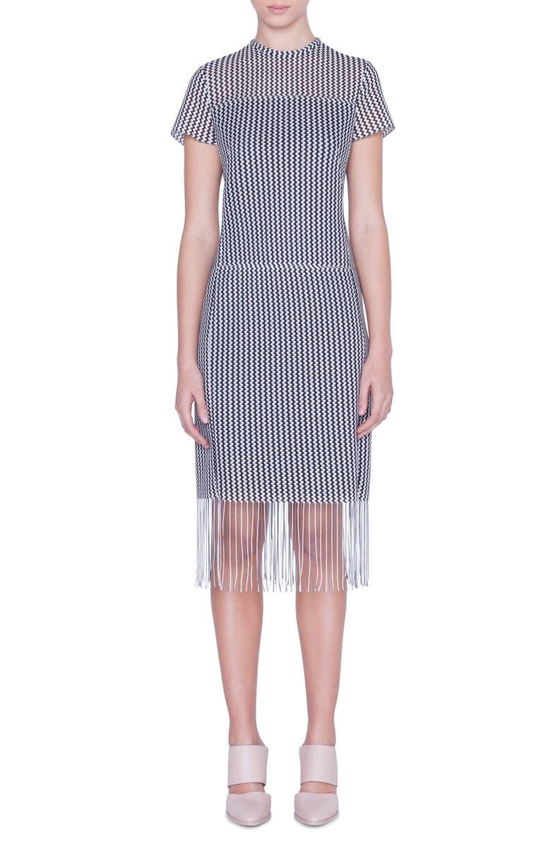 AKRIS PUNTO Monochromatic Fringe Hem Dress, Main, color, BLACK/ CREAM