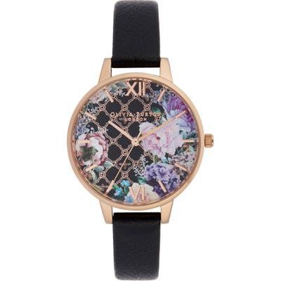 Olivia Burton Glasshouse Leather Strap Watch,