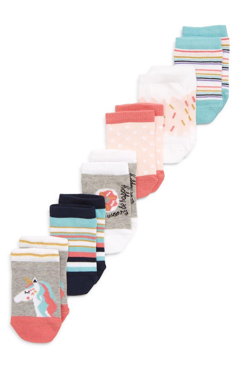 TUCKER + TATE Unicorn Cupcake 6-Pack Low Cut Socks, Main, color, 050
