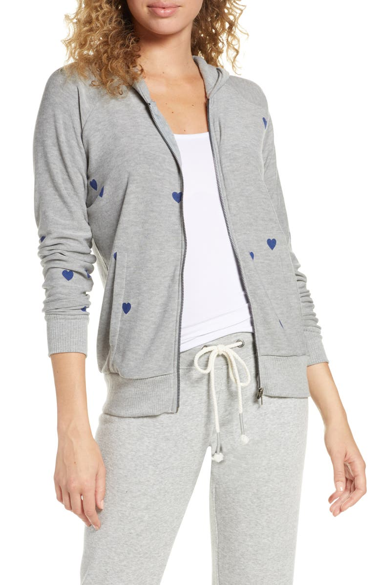 CHASER Tiny Hearts Zip Hoodie, Main, color, HEATHER GREY