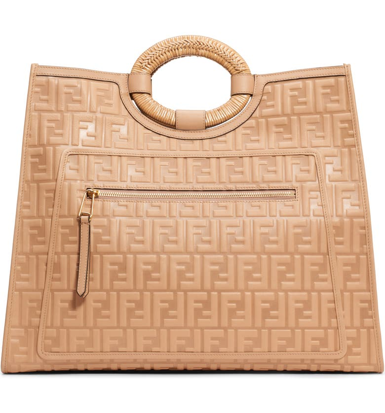 FENDI Runaway Double-F Logo Leather Shopper, Main, color, 250