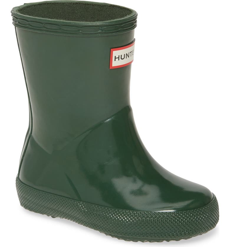 HUNTER 'First Gloss' Rain Boot, Main, color, HUNTER GREEN