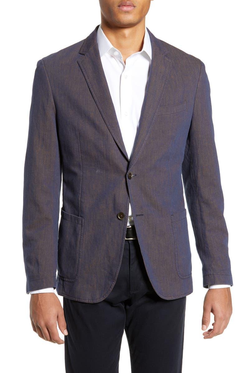 BOSS Henry Slim Fit Blazer, Main, color, MEDIUM ORANGE