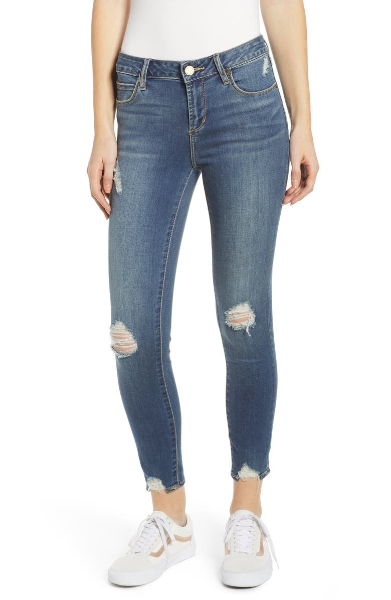 ARTICLES OF SOCIETY Suzy Distressed Crop Skinny Jeans, Main, color, 400