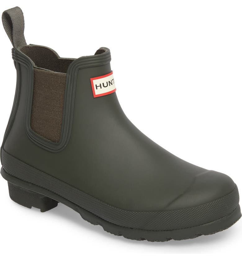 HUNTER Original Waterproof Chelsea Rain Boot, Main, color, DARK OLIVE