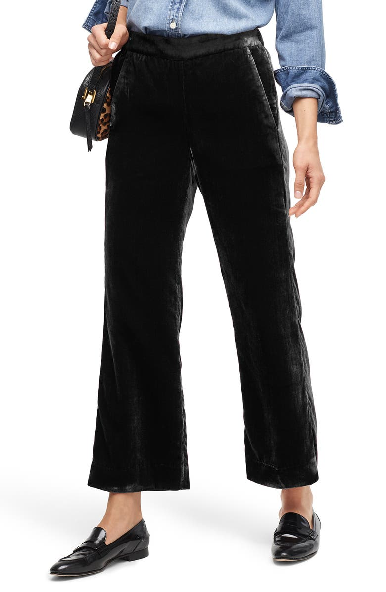 J.CREW Peyton Velvet Pull-On Pants, Main, color, 001