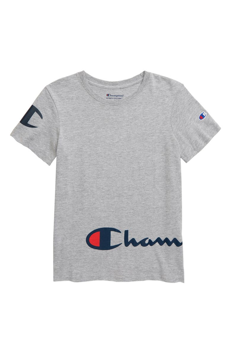 CHAMPION Wraparound Logo T-Shirt, Main, color, OXFORD HEATHER