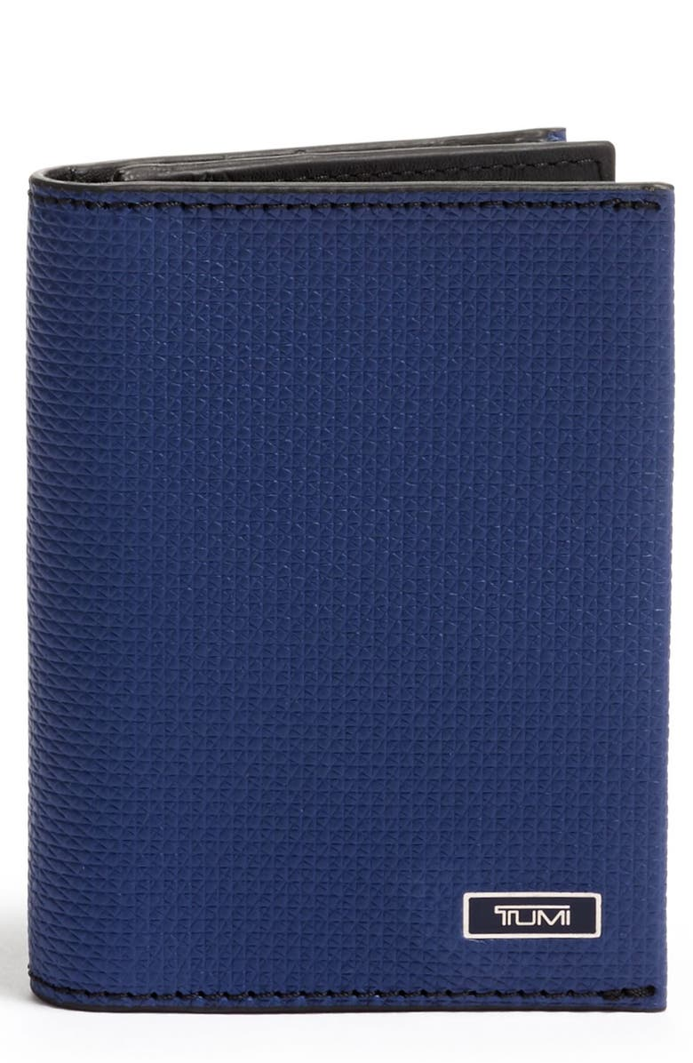 TUMI Monaco Leather Card Case, Main, color, NAVY