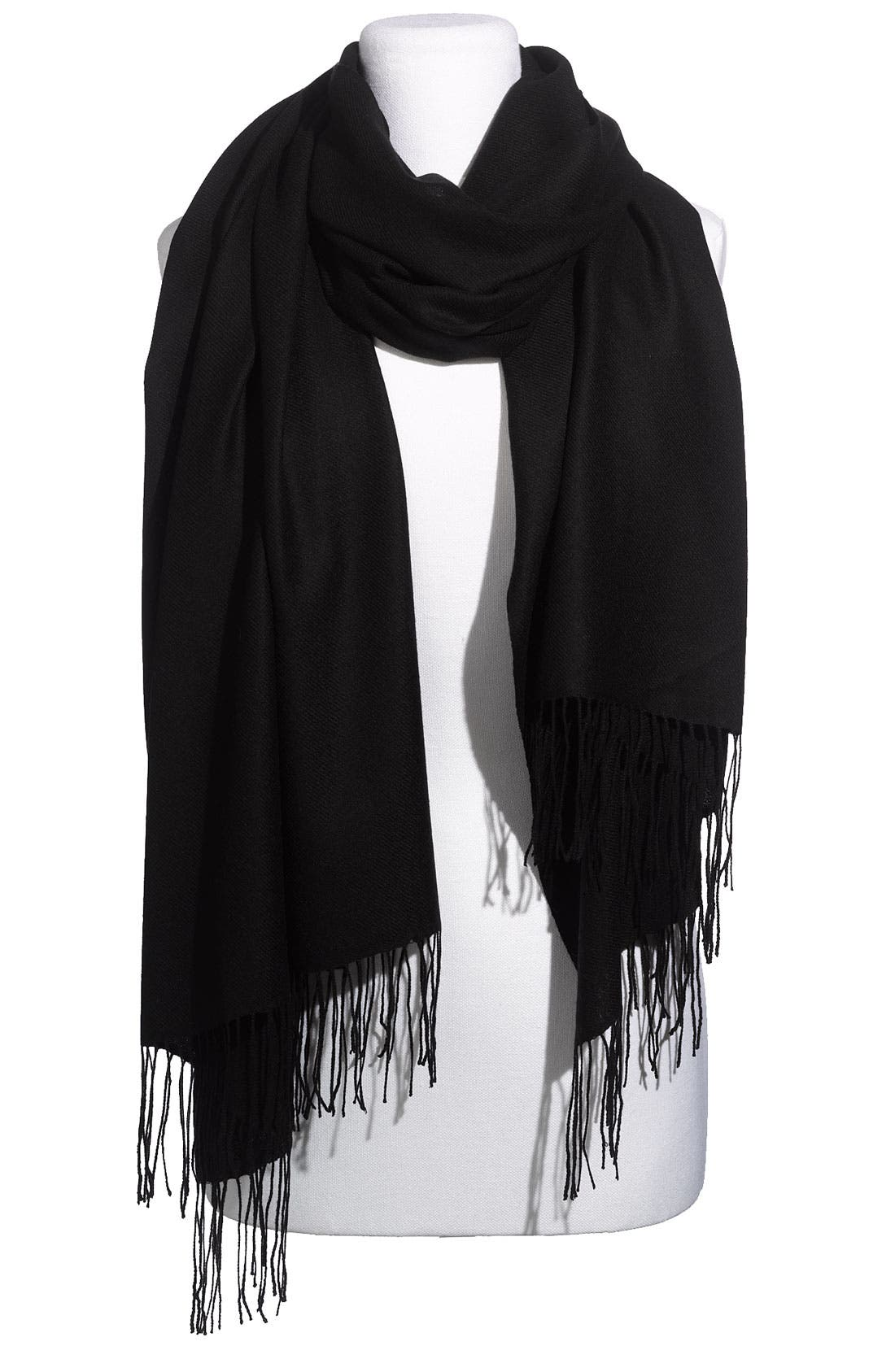 Tissue Weight Wool & Cashmere Wrap, Main, color, 001